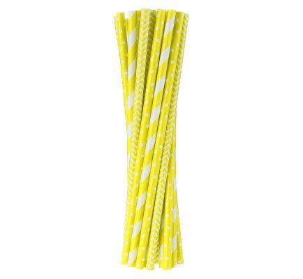 Slamky papierové 6x197mm,24ks žlté