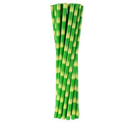 Slamky papierové 6x197mm,24ks bambus
