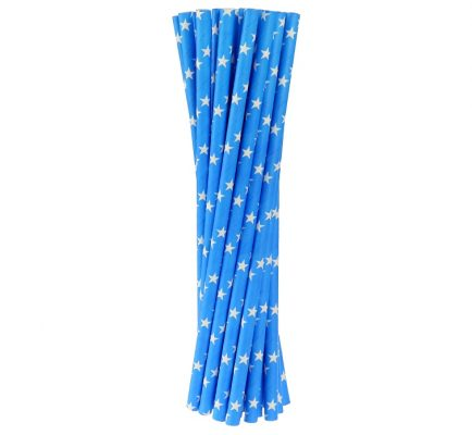 Slamky papierové 6x197mm,24ks modré