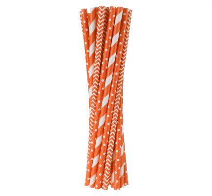 Slamky papierové 6x197mm,24ks oranžové