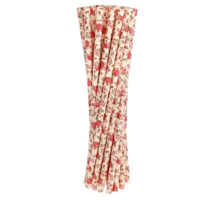 Slamky papierové 6x197mm,24ks, ruža, ružové