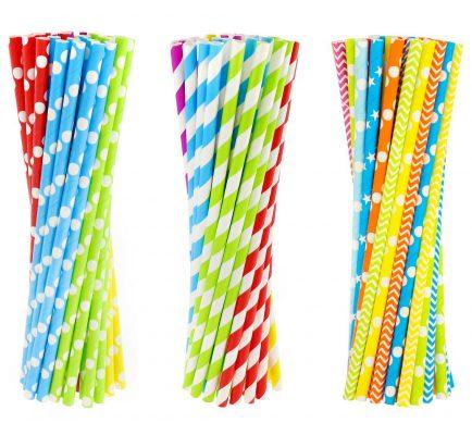 Slamky papierové 6x197mm,40ks, mix
